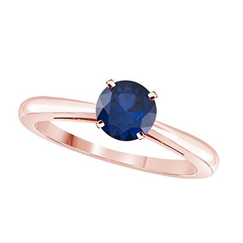(Silver Gems Factory Elegant 1 Ct One Carat Round Cut Solitaire Created Blue Sapphire Engagement Ring in 14k Rose Gold Plated)
