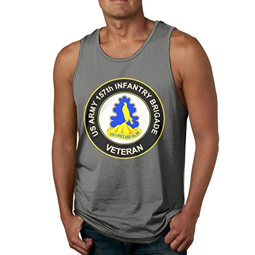 U.S. Army 157th Infantry Brigade Unit Crest Veteran Mens Popular Sleeveless Tank Top Summer Sport Gym Tees Deep Heather