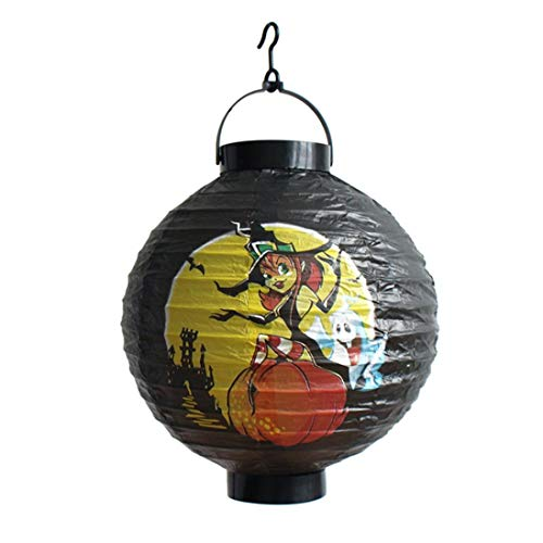 WARMSHOP Foldable Portable LED Lantern Light 1 PC for Halloween Party Decorations for Kids Outdoor Paper Handed Lamp (B) -