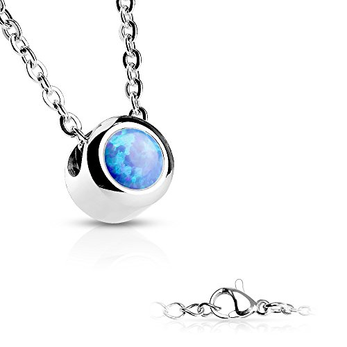 Inspiration Dezigns Stainless Steel Chain Bezeled Round Blue Opal Pendant Necklace