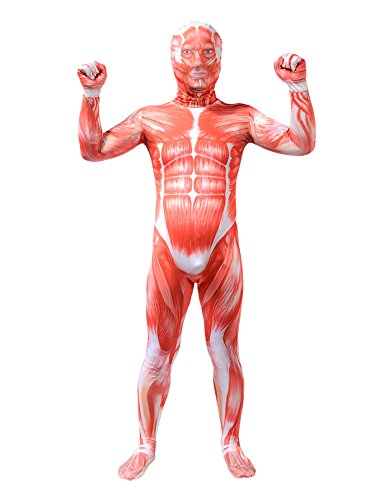 Sheface Kids 3D Printing Spandex Zentai Muscle Full Bodysuit Anatomy Halloween Costumes (Kids Small, P08)