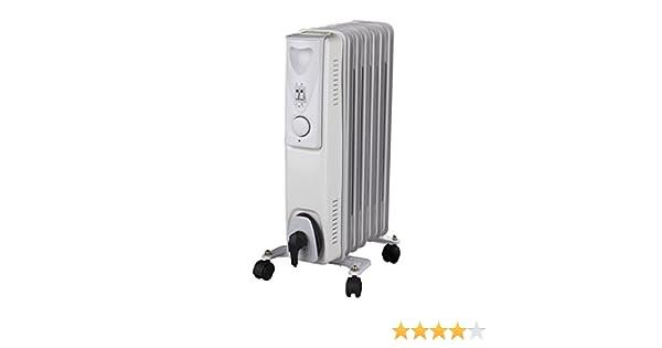 Radiador Daewoo de aceite en color blanco. Calefactor eléctrico de 1.500 vatios, con 3 niveles de calor y termostato: Amazon.es: Bricolaje y herramientas