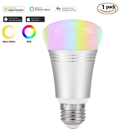 WiFi Smart Light Bulb,Night Light,Work with Alexa Echo and Google Home,Warm White Cool White,16 Million RGB,No Hub Required,E27 (1 Pack)