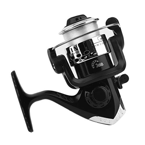 Beginner Electroplating Fishing Reel Gear Ratio 5.1: 1 Spinning Reel with Fishing JL200,White