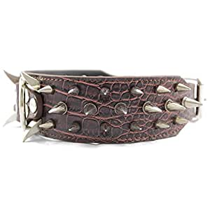 """PQZATX Leather Spiked Studded 2"""" Wide, 25 Spikes 44 Studs, Pit Bull, Boxer-Brown M"""