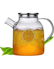 54 Ounces Glass Pitcher with Lid, Water Jug for Hot/Cold Water, Ice Tea and Juice Beverage- Stainless Steel Lid, 54 Oz