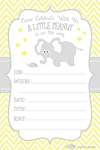 Little Peanut Elephant Baby Shower Invitations   Boy Or Girl Gender Neutral    Fill In Style (20 Count) With Envelopes