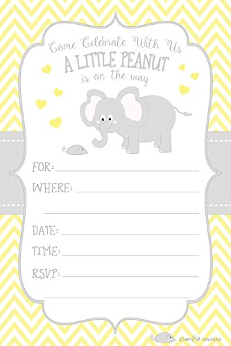 (Little Peanut Elephant Baby Shower Invitations - Boy or Girl Gender Neutral - Fill In Style (20 Count) With Envelopes)