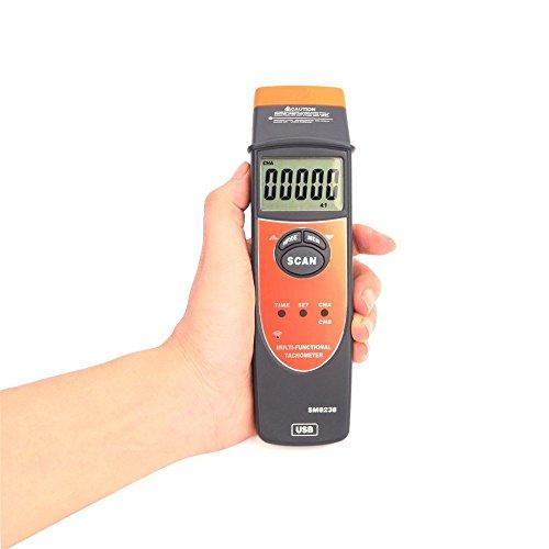 Multi-Functional Tachometer 2.5-99999RPM Handheld Digital LCD RPM Meter USB Interface Speedmeter Recorder SM8238 by Dig dog bone (Image #4)