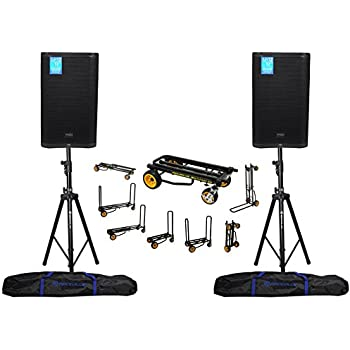 2 presonus air15 15 1200w active pa dj speakers hydraulic stands rolling cart. Black Bedroom Furniture Sets. Home Design Ideas