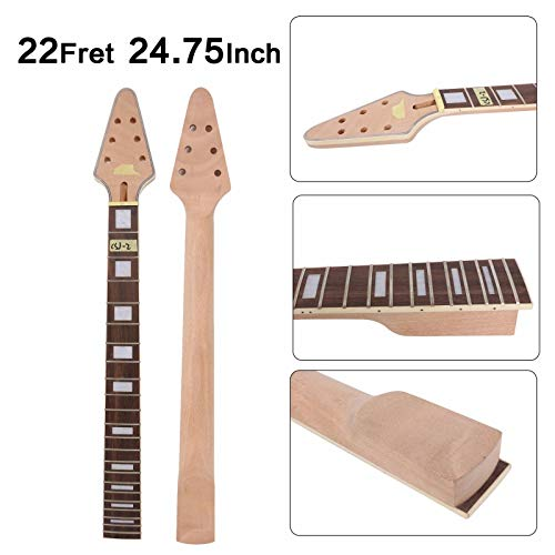 Yinfente Guitar Neck 22 fret 24.75 inch Flying V Electric Guitar Rosewood Guitar Fretboard Binding Headstock (bolt - Electric Guitar Neck
