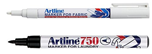 Artline Black Laundry Marker and White Fabric Marker (Twin Pack) (Twin White Twin 1 Black 1)