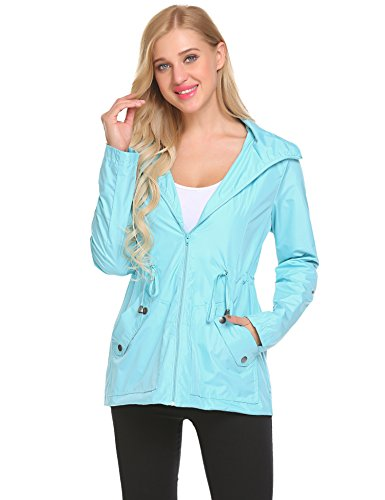 Impermeable Gabardina Chaqueta Viento Resistente para con Lomon Claro Capucha Ligera Azul al de Lluvia Mujer Abrigo qpB05Fw