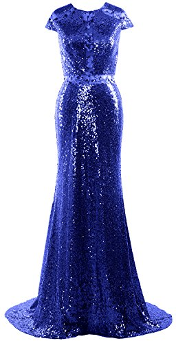 MACloth Women Mermaid Cap Sleeves Long Sequin Evening Gown Wedding Formal Dress Azul Real