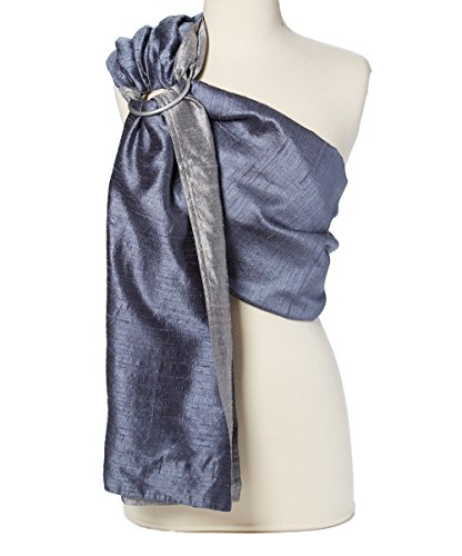 Hip Baby Wrap Dupioni Silk Ring Sling Baby Carrier for Infants and Toddlers (Moonstone (silver/gray)) A Baby Silk Baby Sling