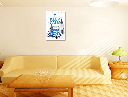 Keep Calm and Trust God Wall Decor Stretched