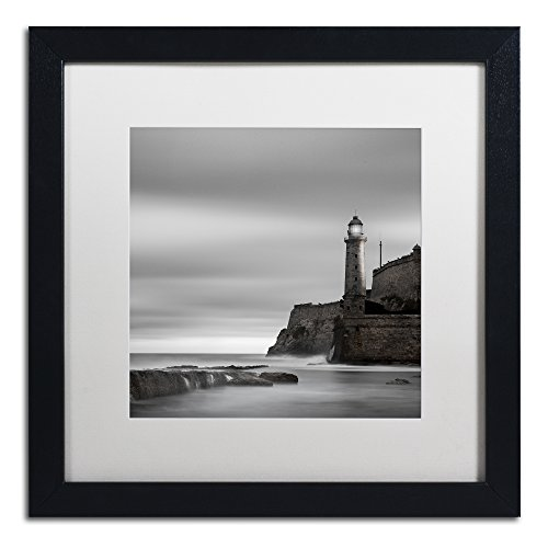 - Morro Lighthouse by Moises Levy in White Matte and Black Framed Artwork, 16 by 16
