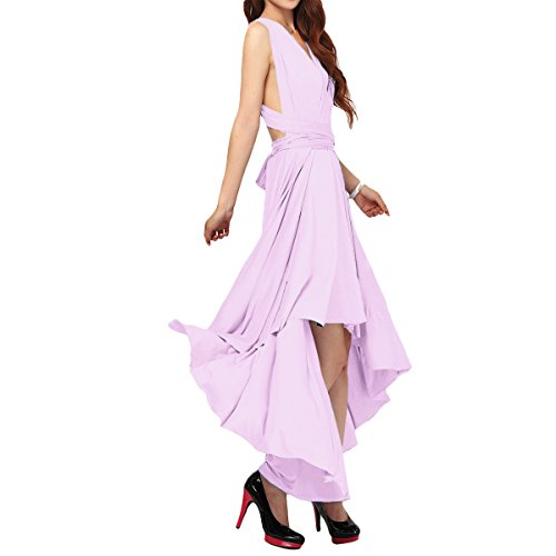 Multi Way Transformer/Wrap Infinity Solid Cocktail Evening Gown Homecoming Hi-Lo Dress Light Lilac S ()