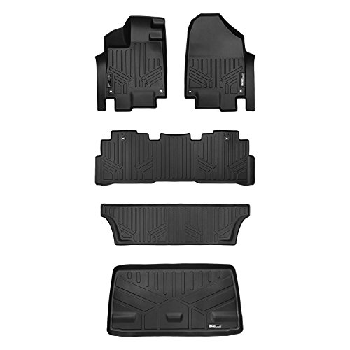 (MAX LINER A0325/B0325/C0325/E0325 Custom Fit Floor Mats 3 Cargo Liner Behind 3rd Row Set Black for 2018-2019 Honda)