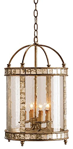 Currey and Company 9229 4 Light Corsica Lantern - Small, Harlow Silver Leaf Finish