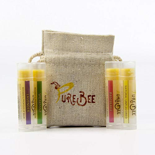 PureBee 100% Natural Moisturizing Beeswax Lip Balm | Variety Pack | Unflavored, Lavender, Spearmint & Raspberry | 4 Tubes