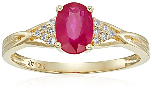 Genuine Diamond Solitaire (10k Yellow Gold Genuine Ruby and Diamond Accented Classic Solitaire Engagement Ring, Size 7)