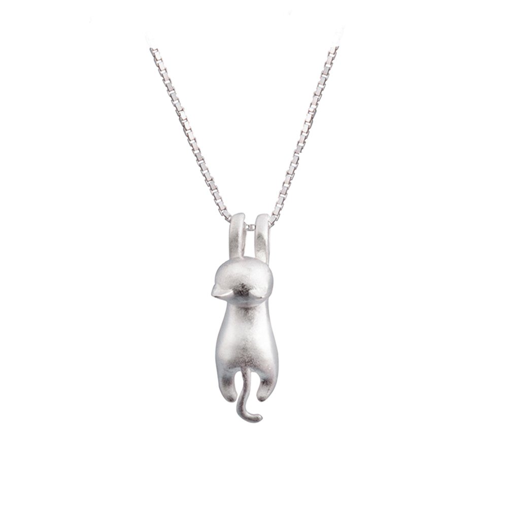 S.Leaf Sterling Silver Cat Necklace Cat Necklace for Woman