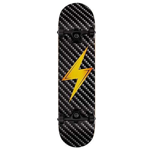 NPET Pro Skateboard Complete 31 Inch 7 Layer Canadian Maple Double Kick Concave Deck Skating Skateboard (Lightning)
