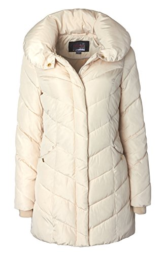 Sportoli Womens Winter Fleece Lined Chevron Quilted Puffer Jacket Coat with Hood - Ivory (Size Large)