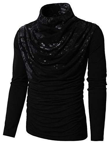 H2H Mens Turtle Neck with Shirring Detail Long Sleeve T-shirts BLACK US L/Asia XL (KMTTL0252)