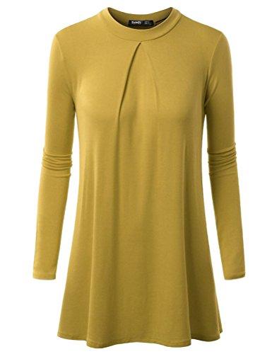 YiLianDa Mujer Manga Larga Camisa Suelto Pullover Casual Parte Superior Blusa Amarillo