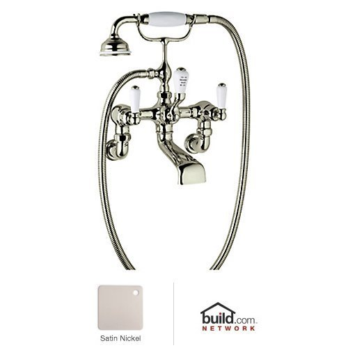 Wall Rowe Exposed (Rohl U.3510L/1-STN Perrin and Rowe Wall Mount Tub Filler Cradle Hose Tub Spout and Lever Handles, Satin Nickel)