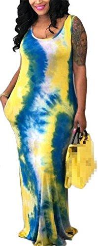 Les Sundresses De Tie Dye Manches Réservoir Col Rond Casual Femmes Cromoncent Maxi Robe Jaune