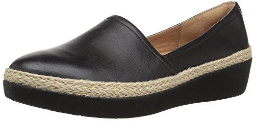 FitFlop Women's Casa Loafers Sneaker, Black, 6.5 M US