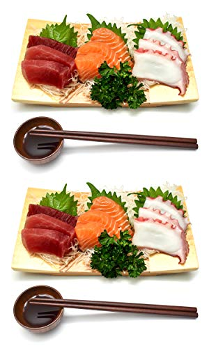 - Wooden Bamboo Sushi Platter Dish Tray Japanese Dinner Set with Chopsticks and Soy Sauce Dish Set for Two