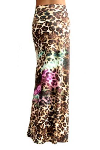 Azules Women's Poly Span Animal Print Maxi Skirt