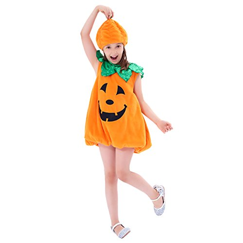 Girls Pumpkin Costume, Lantern Faces Fancy Dress up for Halloween & Carnival Party]()