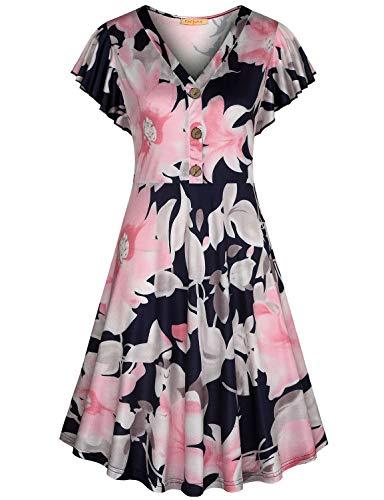 Baikea Midi Dress,Semi Casual Dresses for Women Knee Length Flared Flatter Retro Floral Printed Lightweight Knitting Draoe Draped Henley V Neck Cap Sleeve Royal Blue - Sleeve V-neck Cap Henley