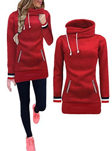 llar Fleece Pullover Long Hoodies Sweatshirts Dress Sweater Coat with Pockets, Red, Medium (High Neck Sweatshirt)