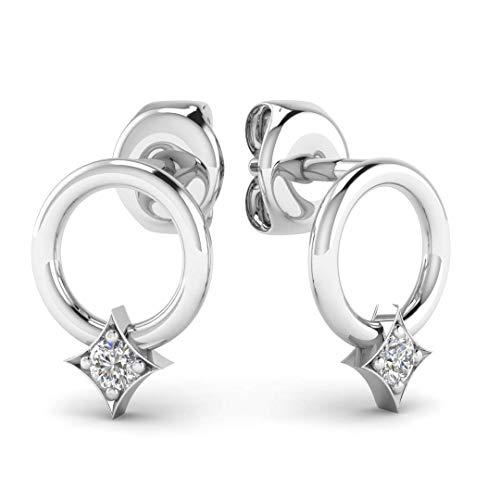 Diamond Circle Hoop Earrings - Minimalist Geometric Circle Earring Studs in Solid 14K White Gold, Real Diamonds, Butterfly Push Back -