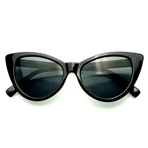 Womens Fashion Hot Tip Vintage Pointed Cat Eye Sunglasses (Black, - Cat Subglasses Eye