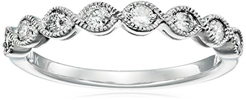 14k White Gold Milgrain Diamond Band (1/4 cttw, IJ Color, I2-I3 Clarity), Size 6