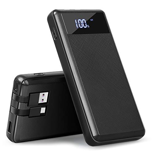 Portable Charger Power Bank,20000mAh Portable Phone Charger Built-in Cable with LCD Digital Display 5V 2.1A Fast Charger USB Type C Port External Battery Pack for Smart Phones,Android Phone,Tablet