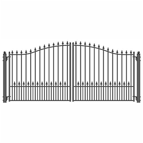ALEKO DG14MUND-APE Munich Style Iron Wrought Gate Ornamental Dual Swing Driveway Gates, 14 (Ornamental Wrought Iron Gates)