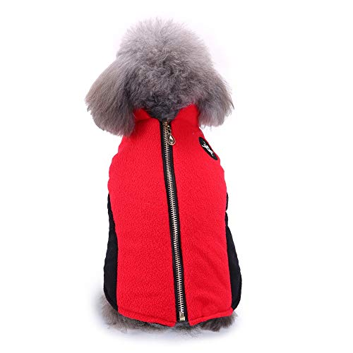 Fleece Autumn Winter Cold Weather Dog Vest Clothes with Zipper, Small Medium (Red, S)