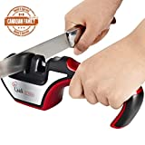 Quick Cocinero Kitchen Knife Sharpener, 3-Stage Sharpening System for Kitchen Knives and Scissors, Manual Sharpening Tool Kit with Diamond Coated, Ceramic Knives Sharpening Wheels, Multi-Functional Professional Kitchen Knife Sharpeners With Ergonomic Design, Non-slip Base, Helps Repair and Restore Knives – Best (Red)