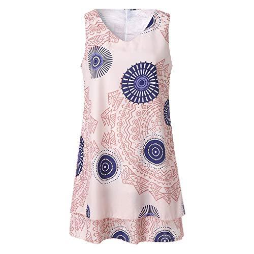 TOTOD Dress for Women,Plus Size Boho Print Mini Dress Loose Shift Sleeveless Tank Vest Sundress US 4-18 Pink