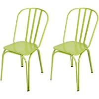 Joveco Contemporary Style Metal Industrial Stackable Dining Chairs Set of 2, Green