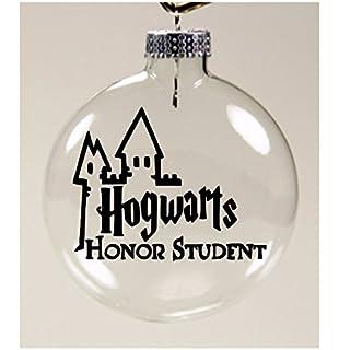 merch massacre harry potter hogwarts christmas ornament glass disc holiday horror
