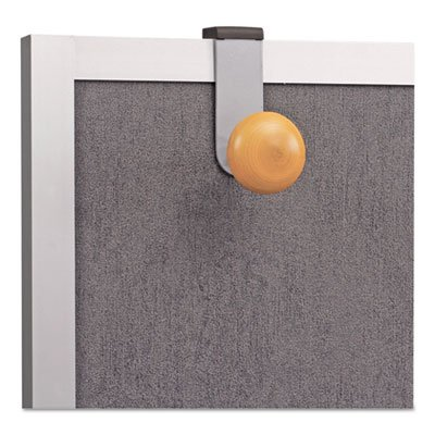 Cubicle Garment Peg, 1 Hook, 1 1/5 X 1 3/8 X 4 3/10, Metallic Grey